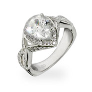 Avril Lavigne Inspired Pear Cut CZ Sterling Silver Engagement Ring
