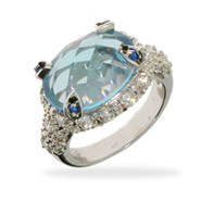 Exquisite Aquamarine CZ Ring with Sapphire CZ Accents