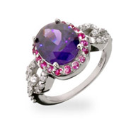 Amethyst and Fuschia CZ Vintage Style Cocktail Ring