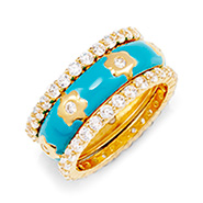 Turquoise and Gold CZ Flower Ring Set