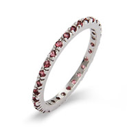 Alexandrite CZ Sterling Silver Stackable Eternity Band