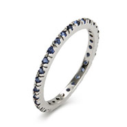 Sapphire CZ Sterling Silver Stackable Eternity Band