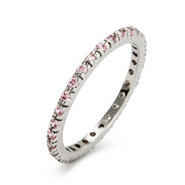 Pink CZ Sterling Silver Stackable Eternity Band