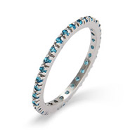 Blue Zircon CZ Sterling Silver Stackable Eternity Band