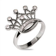 Sterling Silver CZ Princess Crown Ring - Clearance Final Sale