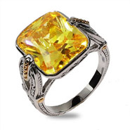 Emerald Cut Canary CZ Intricate Design Sterling Silver Ring