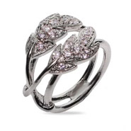 Sparkling Pave CZ Silver Nature Leaf Ring