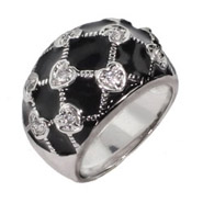 Sterling Silver Black Enamel CZ Heart Ring