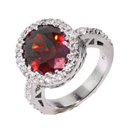 Sparkling Oval Cut Garnet CZ Sterling Silver Ring