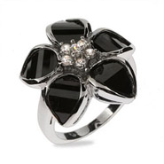 Delicate Black Onyx CZ Flower Sterling Silver Ring