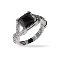 Princess Cut Onyx CZ Intricate Style Sterling Silver Ring