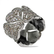Dazzling Pave CZ Vintage Hearts Sterling Silver Cocktail Ring