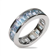 Sterling Silver Blue CZ Glamour Band