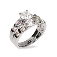 Sparkling Brilliant Cut CZ Double Band Engagement Set