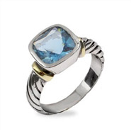 Designer Style Cable Ring with Blue Topaz CZ