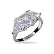 Princess and Triangular Cut CZ Three Stone Promise Ring
