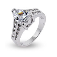 Dazzling Pear Cut CZ Engagement Ring