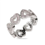 Tiffany Inspired Band of CZ Hearts Sterling Silver Ring