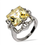 Celebrity Style Princess Cut Canary CZ Cocktail Ring