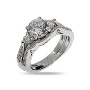 Emily's Brillant Cut CZ Three Stone Engagement Ring Set
