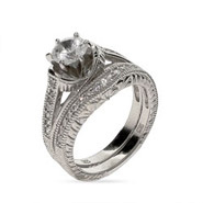 Bridget's Beautiful Sterling Silver Vintage CZ Wedding Ring Set