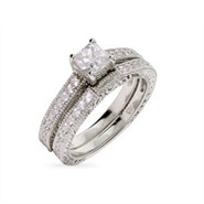 Julia's Vintage Style Princess Cut Engagement Ring Set