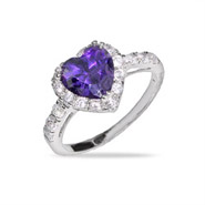 Sparkling Purple Heart Sterling Silver Amethyst CZ Ring