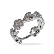 Flowering CZ Vine Sterling Silver Ring