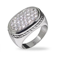 Designer Style Modern Pave CZ Ring with Cable Detail
