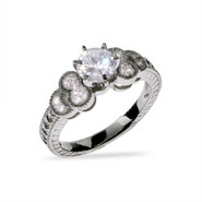 Sparkling Victorian CZ and Sterling Silver Engagement Ring