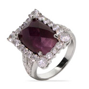 Glamorous Emerald Cut Amethyst CZ Cocktail Ring