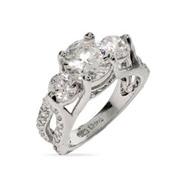 Elegant Past, Present, Future 3 Stone Engagement Ring