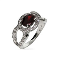 Katherines Exquisite Garnet Red CZ Cocktail Ring
