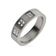 Men's Twelve Stone Engravable Stainless Steel Band
