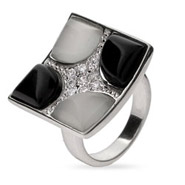 Designer Style Black Onyx and White Mother of Pearl Cocktail ring