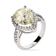 Celebrity Style Canary Yellow CZ Engagment Ring