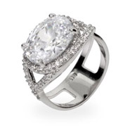 Katherine's Dazzling Oval Cut Pave CZ Right Hand Ring