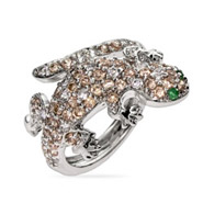 Designer Inspired Champagne & Emerald CZ Lizard Cocktail Ring