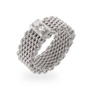 Tiffany Inspired Sterling Silver CZ Bar Mesh Ring