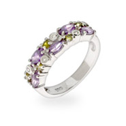 Pretty Peridot & Amethyst Double Row CZ Ring
