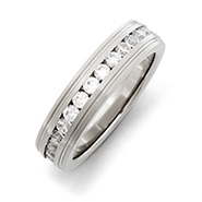 Mens & Womens Engravable Stainless Steel CZ Eternity Band