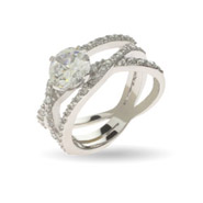 Glamorous Triple Band Brilliant Cut CZ Right Hand Ring