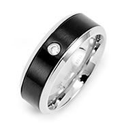 Mens Stainless Steel and Black Promise Ring with Inset CZ