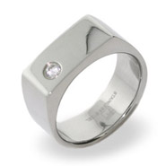 Stainless Steel Engravable Mens Signet Ring With Single CZ