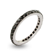 Sterling Silver Black CZ Stackable Ring