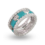 Designer Inspired Turquoise Enamel CZ Flower Stackable Ring Set