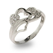 Cluster of Hearts Pave CZ Sterling Silver Ring