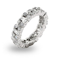 Sparkling Emerald Cut and Flower CZ Stackable Band