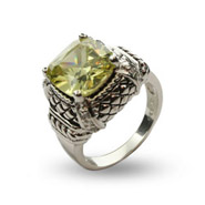 Halias Peridot Cushion Cut CZ Ring