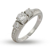 Past, Present and Future 3 Stone CZ Engagement Ring